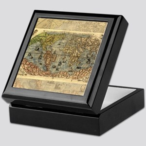 World Map Vintage Atlas Historical Keepsake Box